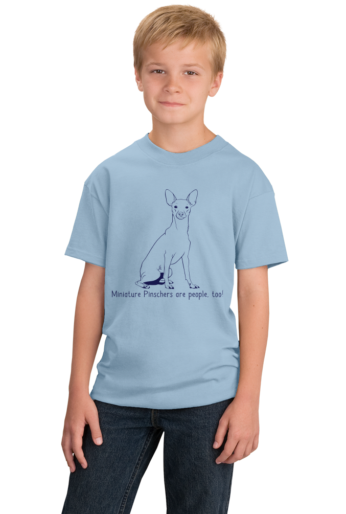 Youth Light Blue Miniature Pinschers are People, Too! - MinPin Owner Dog Lover T-shirt