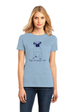 Ladies Light Blue Pugs are People, Too! - Pug Owner Dog Lover Cute Adorable Gift T-shirt