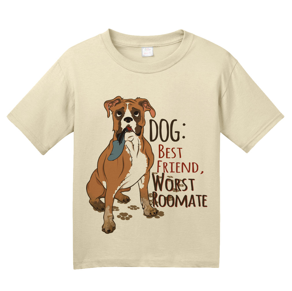 Youth Natural Dog: Worst Roommate, Best Friend - Dog Humor Sarcastic Funny T-shirt