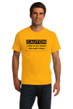 Standard Gold Caution: Likes to get Drunk & Hump Things - Bar Crawl Humor T-shirt