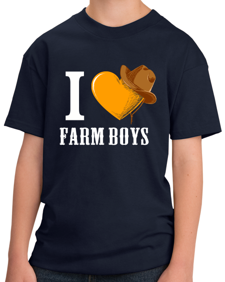 Youth Navy I <3 Farm Boys - Sexy Farmer Fetish Tractor Farm Midwest Love