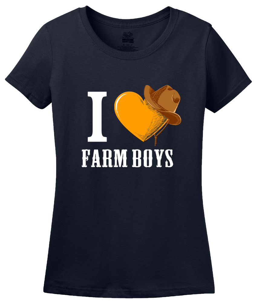 Ladies Navy I <3 Farm Boys - Sexy Farmer Fetish Tractor Farm Midwest Love