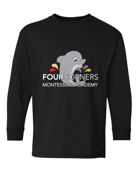 Youth Long Sleeve Black Youth Splash Design Long Sleeve T-shirt