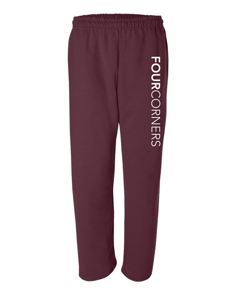 Adult Open Bottom Sweatpants Maroon Adult Open Bottom Sweatpant Quarter-Zip