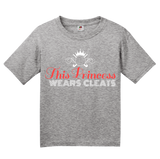 Youth Grey This Princess Wears Cleats - Field Hockey Soccer Player Ladies T-shirt