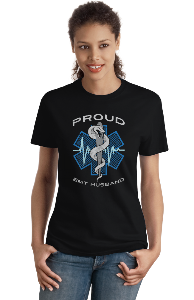 Ladies Black Proud EMT Husband - Proud Husband to Paramedic EMT T-shirt