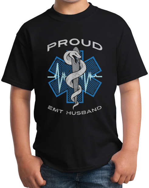 Youth Black Proud EMT Husband - Proud Husband to Paramedic EMT T-shirt