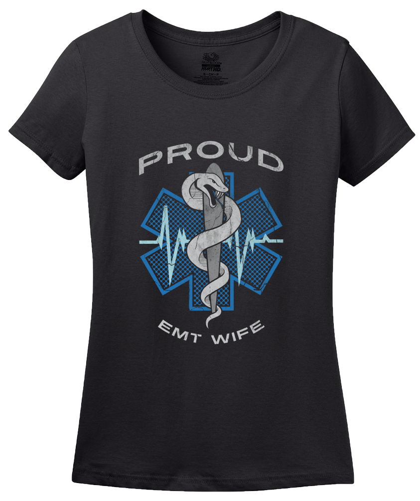 Ladies Black Proud EMT Wife - Proud Wife to Paramedic EMT T-shirt