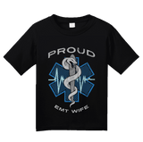 Youth Black Proud EMT Wife - Proud Wife to Paramedic EMT T-shirt