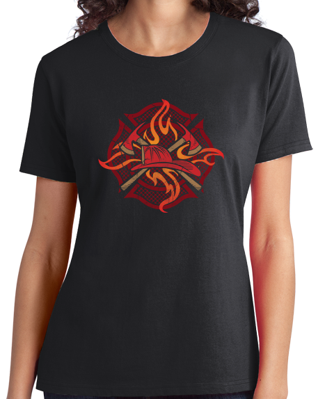 Ladies Black Fire Fighter Crest - Firefighter Brotherhood Rescue Fire Chief T-shirt