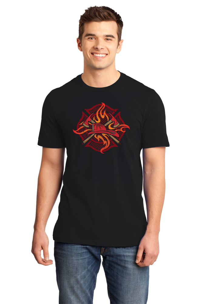 Standard Black Fire Fighter Crest - Firefighter Brotherhood Rescue Fire Chief T-shirt