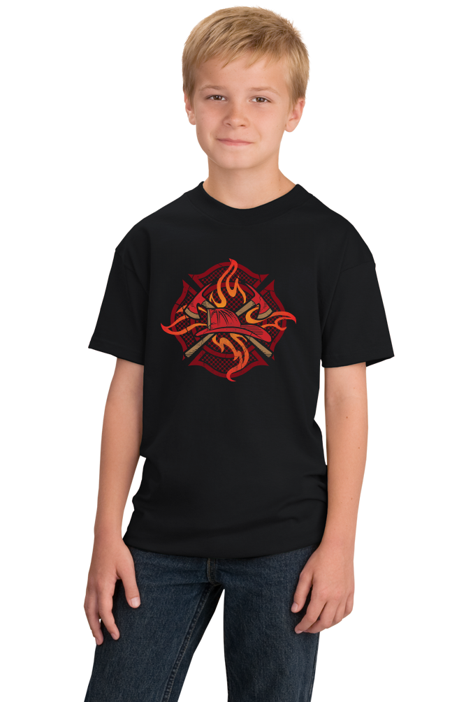 Youth Black Fire Fighter Crest - Firefighter Brotherhood Rescue Fire Chief T-shirt