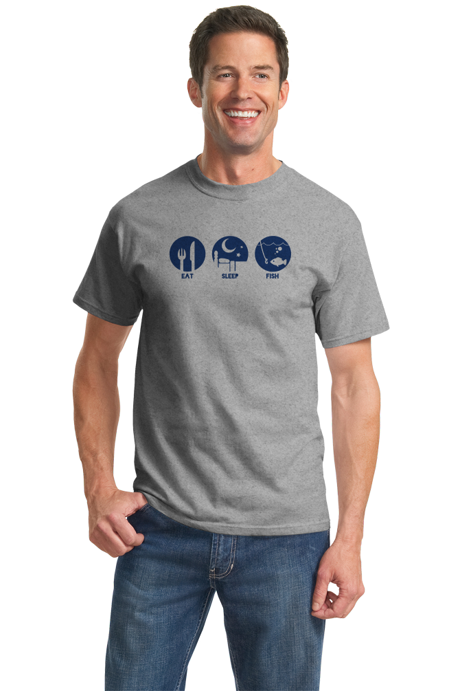 Standard Grey Priorities: Eat, Sleep, Fish - Fisherman Fishing Humor Boat Lake T-shirt