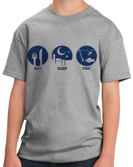 Youth Grey Priorities: Eat, Sleep, Fish - Fisherman Fishing Humor Boat Lake T-shirt