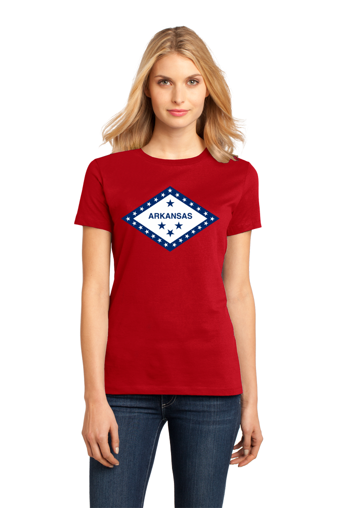 Ladies Red Arkansas State Flag - Arkansas Fan Native Flag Gift Cool T-shirt