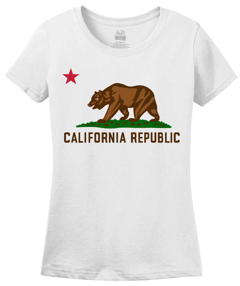 Ladies White California State Flag - Golden State California Love Flag T-shirt