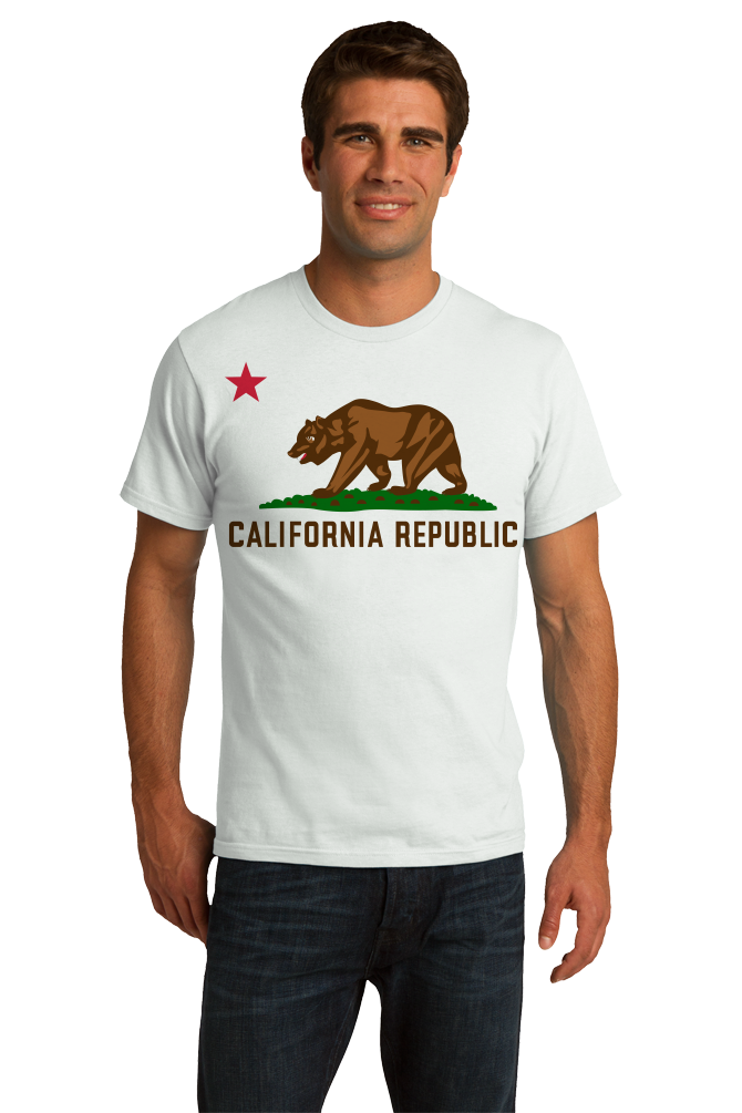 Standard White California State Flag - Golden State California Love Flag T-shirt