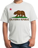Youth White California State Flag - Golden State California Love Flag T-shirt