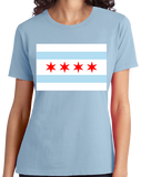 Ladies Light Blue Chicago City Flag - Chicago Pride Second City Love Native T-shirt