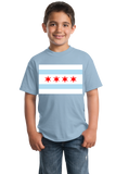 Youth Light Blue Chicago City Flag - Chicago Pride Second City Love Native T-shirt