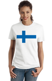 Ladies White Finnish National Flag - Finland Heritage Ancestry Pride Suomi T-shirt