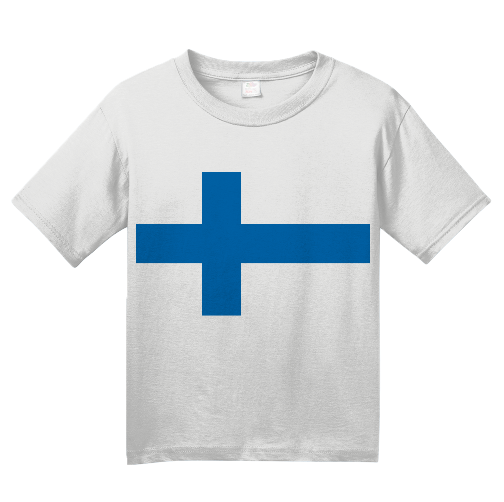 Youth White Finnish National Flag - Finland Heritage Ancestry Pride Suomi T-shirt
