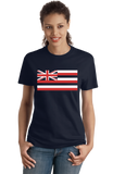 Ladies Navy Hawaii State Flag - Hawaii State Hawaiian Ka Hae Hawai'i Pride T-shirt