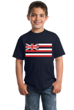 Youth Navy Hawaii State Flag - Hawaii State Hawaiian Ka Hae Hawai'i Pride T-shirt