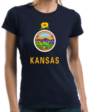Ladies Navy Kansas State Flag - Kansas State Flag Wizard of Oz Twister Home T-shirt