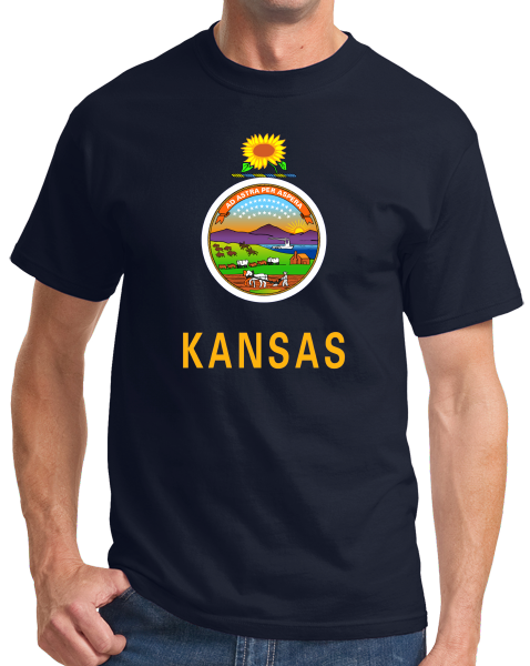 Standard Navy Kansas State Flag - Kansas State Flag Wizard of Oz Twister Home T-shirt