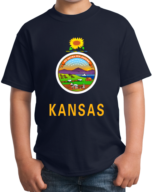 Youth Navy Kansas State Flag - Kansas State Flag Wizard of Oz Twister Home T-shirt