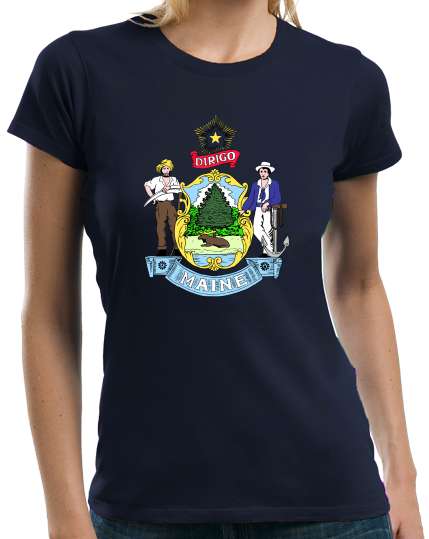 Ladies Navy Maine State Flag - Maine State Flag Vacationland History Home T-shirt