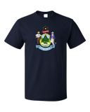 Standard Navy Maine State Flag - Maine State Flag Vacationland History Home T-shirt