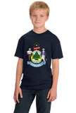 Youth Navy Maine State Flag - Maine State Flag Vacationland History Home T-shirt