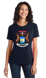 Ladies Navy Michigan State Flag - Michigan State Pride Detroit Home Love T-shirt