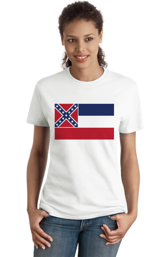 Ladies White Mississippi State Flag Tee T-shirt