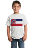 Youth White Mississippi State Flag Tee T-shirt
