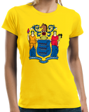 Ladies Yellow New Jersey State Flag - New Jersey State Flag Shore The Boss T-shirt