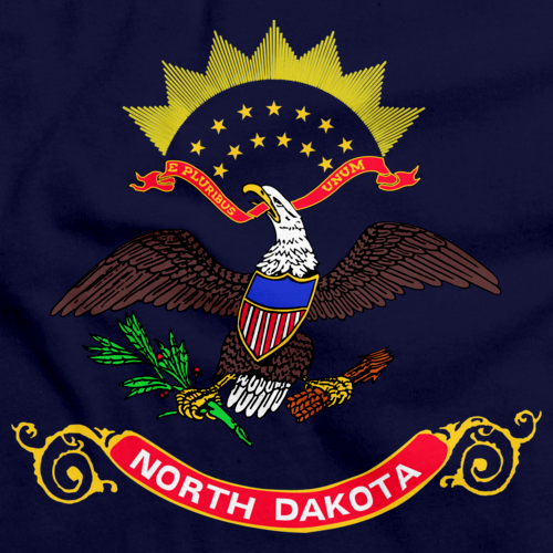 North Dakota State Flag Tee Navy art preview