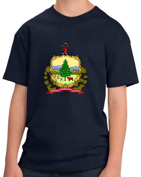 Youth Navy Vermont State Flag - Vermont Pride New England Maple Syrup Love T-shirt