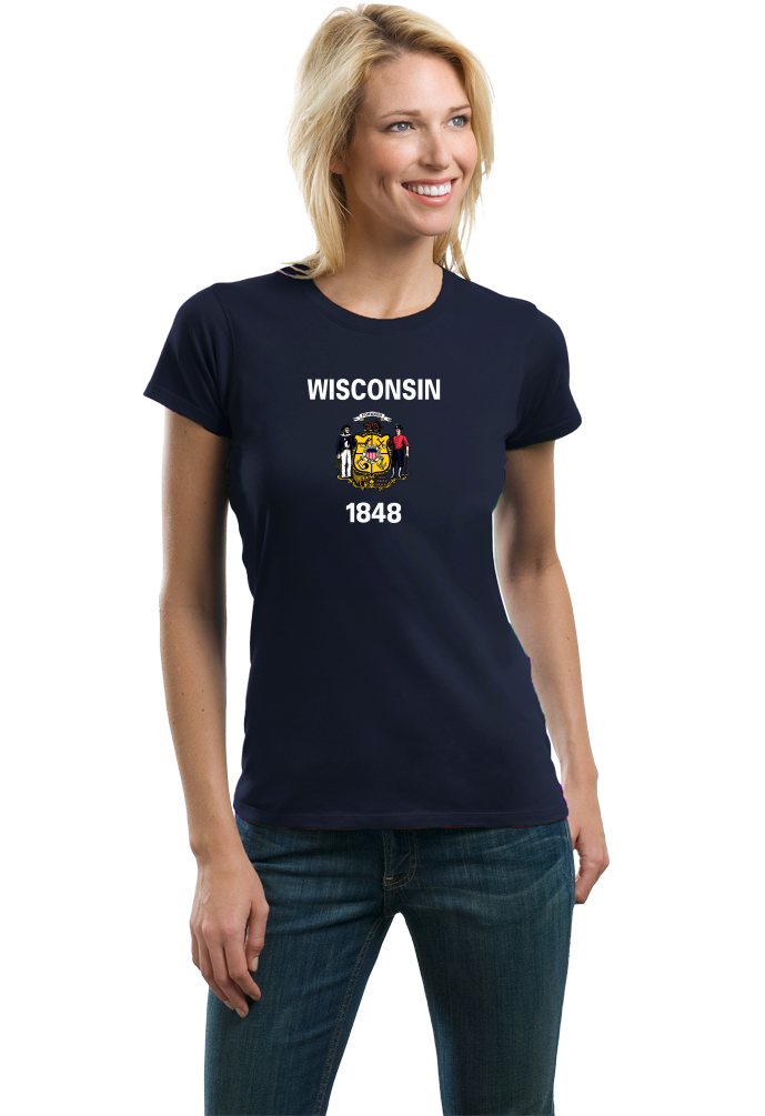 Ladies Navy Wisconsin State Flag - Wisconsin Pride Packers Cheese Home T-shirt