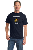 Standard Navy Wisconsin State Flag - Wisconsin Pride Packers Cheese Home T-shirt