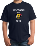 Youth Navy Wisconsin State Flag - Wisconsin Pride Packers Cheese Home T-shirt