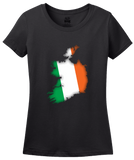 Ladies Black Ireland Map Filled With Irish Flag - Irish Heritage Pride T-shirt