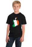 Youth Black Ireland Map Filled With Irish Flag - Irish Heritage Pride T-shirt