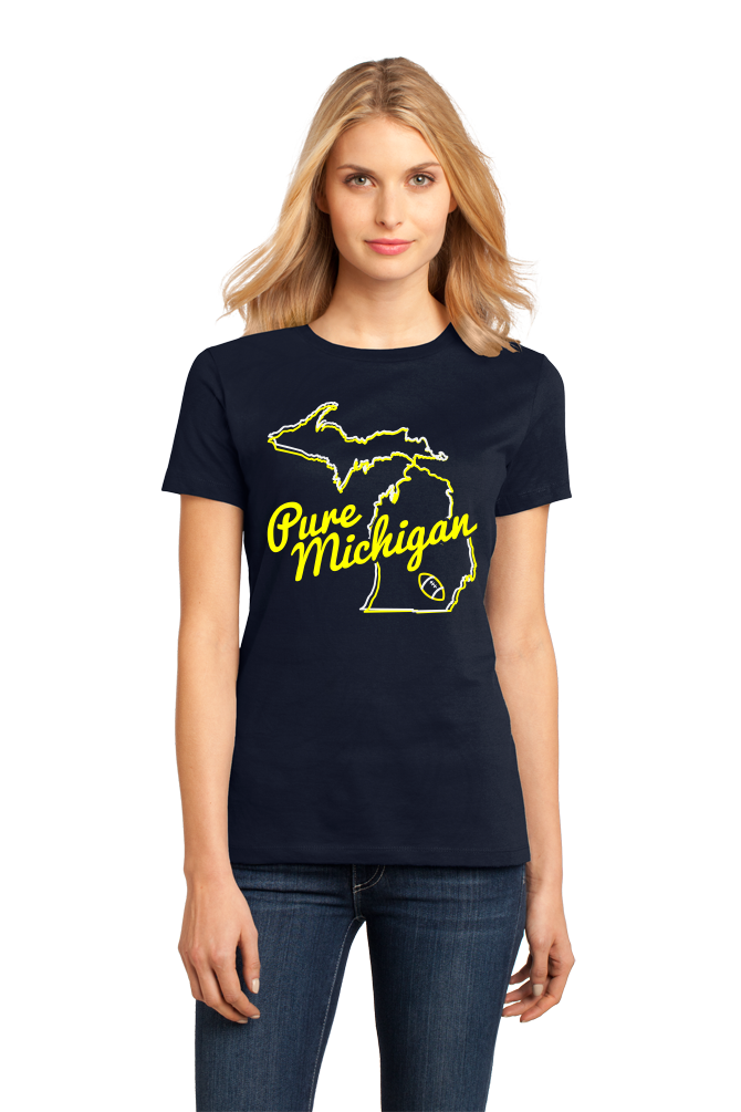 Ladies Navy Pure Michigan - Ann Arbor, MI Football Hometown Pride T-shirt