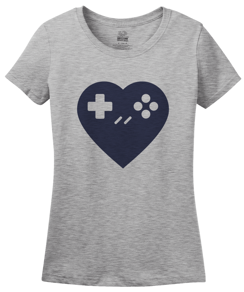 Ladies Grey I <3 Gaming - Gamer Love Nerd Geeky Funny Cute Video Games Humor T-shirt