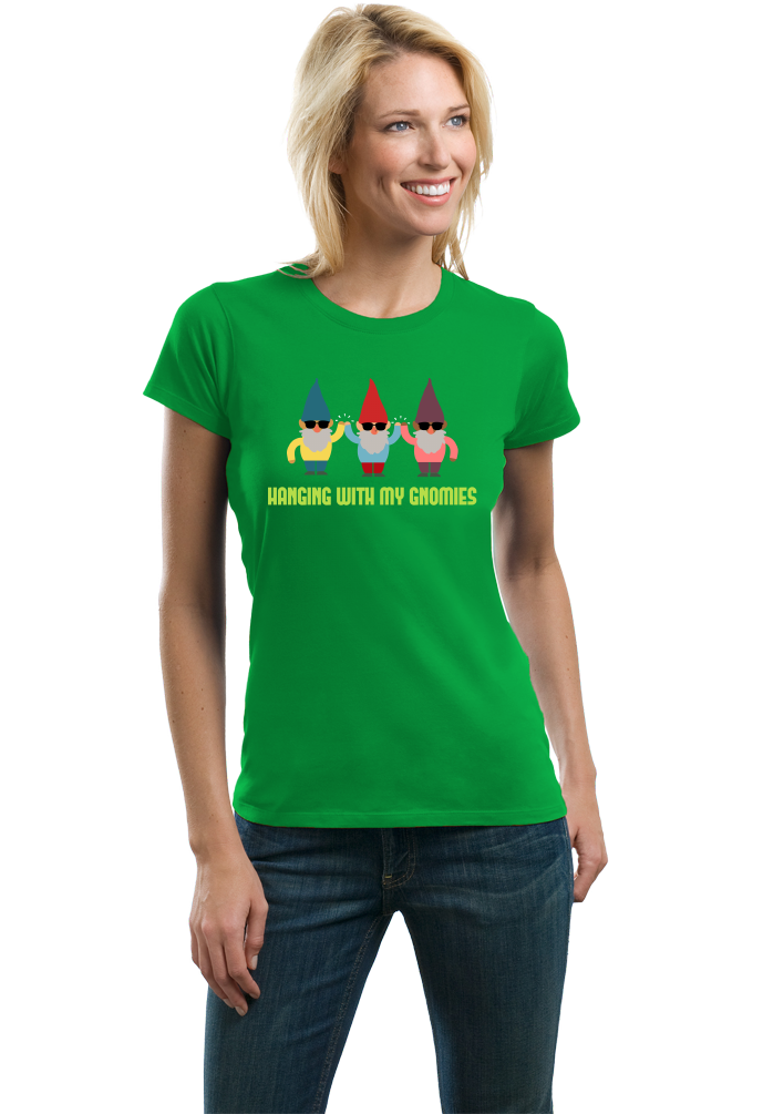 Ladies Green Hanging With My Gnomies - Garden Gnome Cute Funny Yard Gardening T-shirt