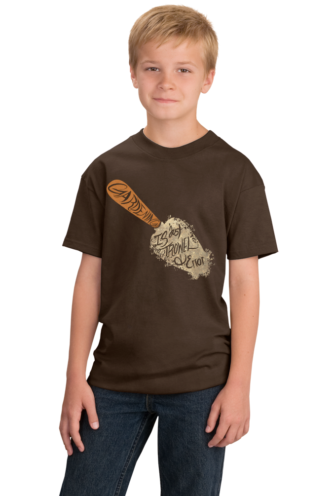 Youth Brown Trowl & Error - Funny Gardening Humor Hipster Pun Dad Mom Joke T-shirt