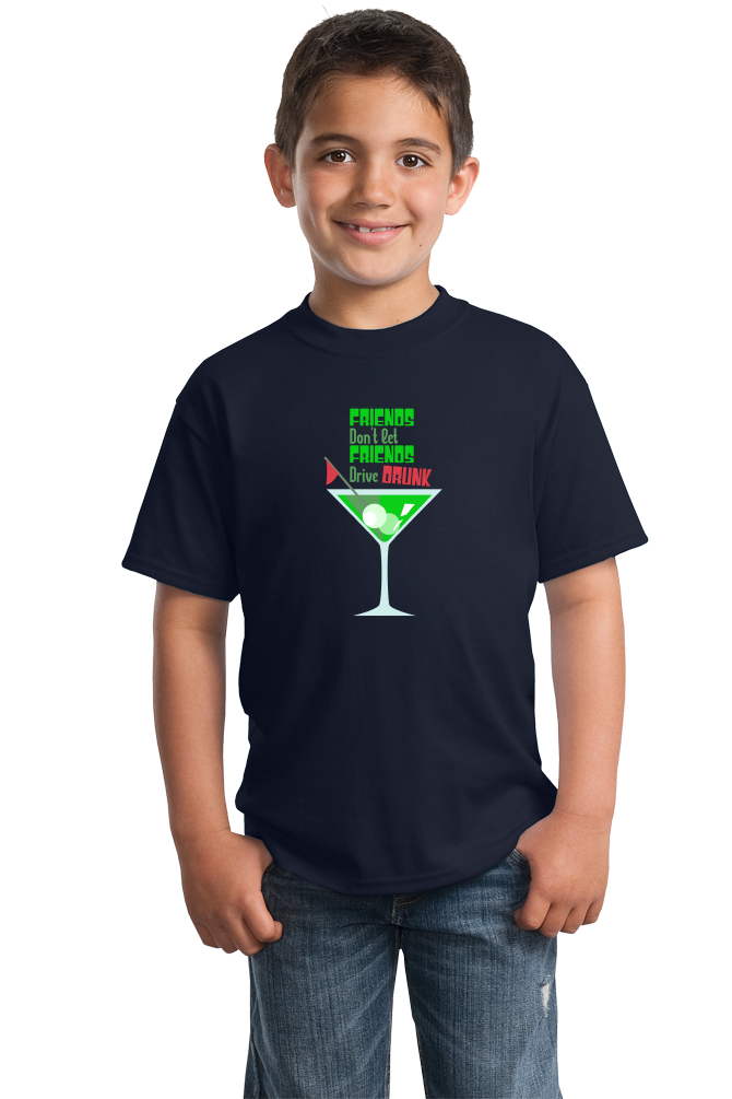Youth Navy Friends Don't Let Friends Drive Drunk - Pun Drinking Humor Golf T-shirt